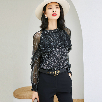 100% Silk Blouse Women Casual Style Long Sleeve Printed Simple O Neck Short Flare Sleeves Loose Top New Fashion