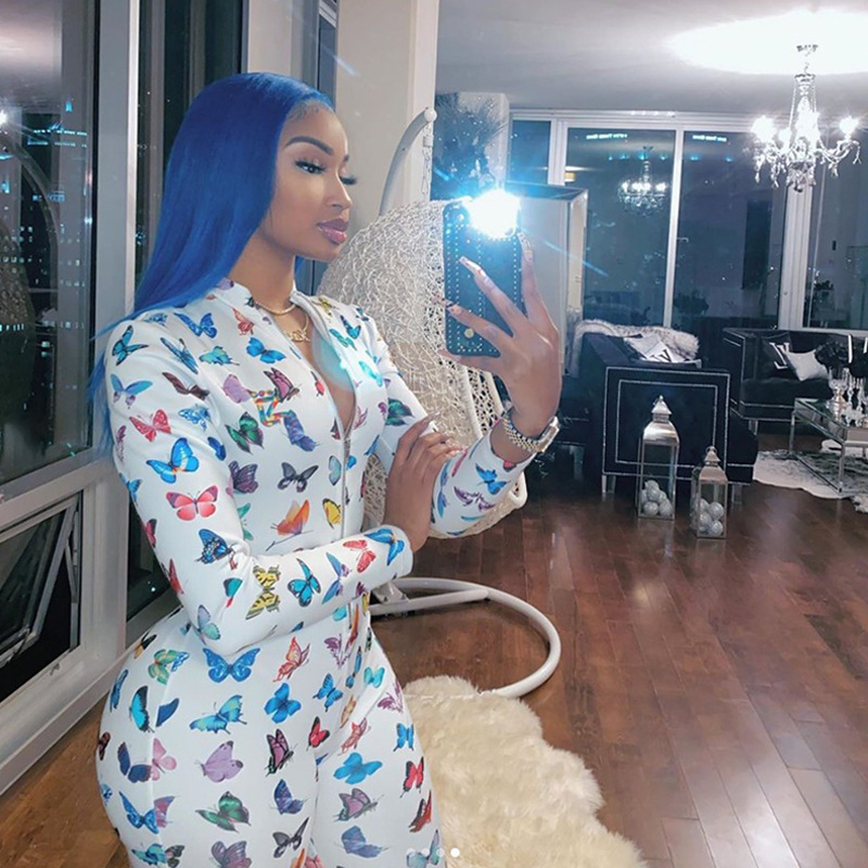 Sexy Women Butterfly Print Long Sleeve Zipper Down V neck Bodycon Jumpsuits Club Outfits One Piece Rompers Active Wear