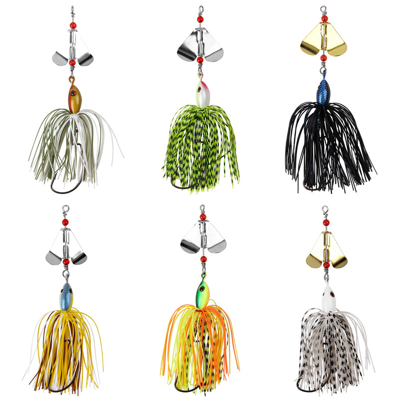 6pcs 12pcs 20g Artificial Metal spinner bait Chatterbait metal spoons with silicone skirts lure for pike bass trout fishing-4