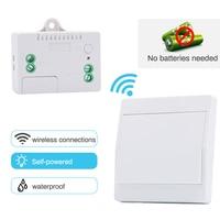 Saful-interruptor inalámbrico de autoalimentación, pulsador con Control remoto, 1 Banda, 1 vía, impermeable, inteligente, sin batería para Smart Life