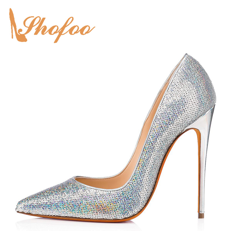 Shofoo Silver High Heels Pointed Toe Pumps Sequined Cloth Woman Shoes Slip-On Spring/Autumn Large Size 11 15 Elegant Party Dress