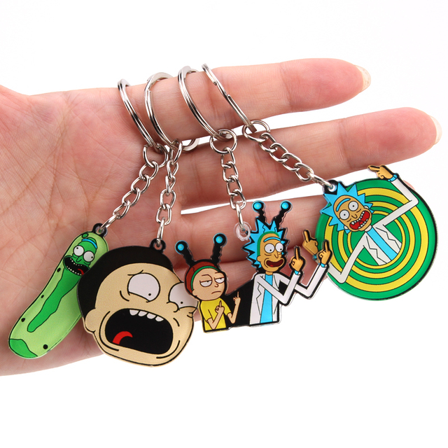 Rick And Morty Keychain Women and Men Key Chain Cute Anime Cartoon Kids Key Ring Gift Porte Clef 1