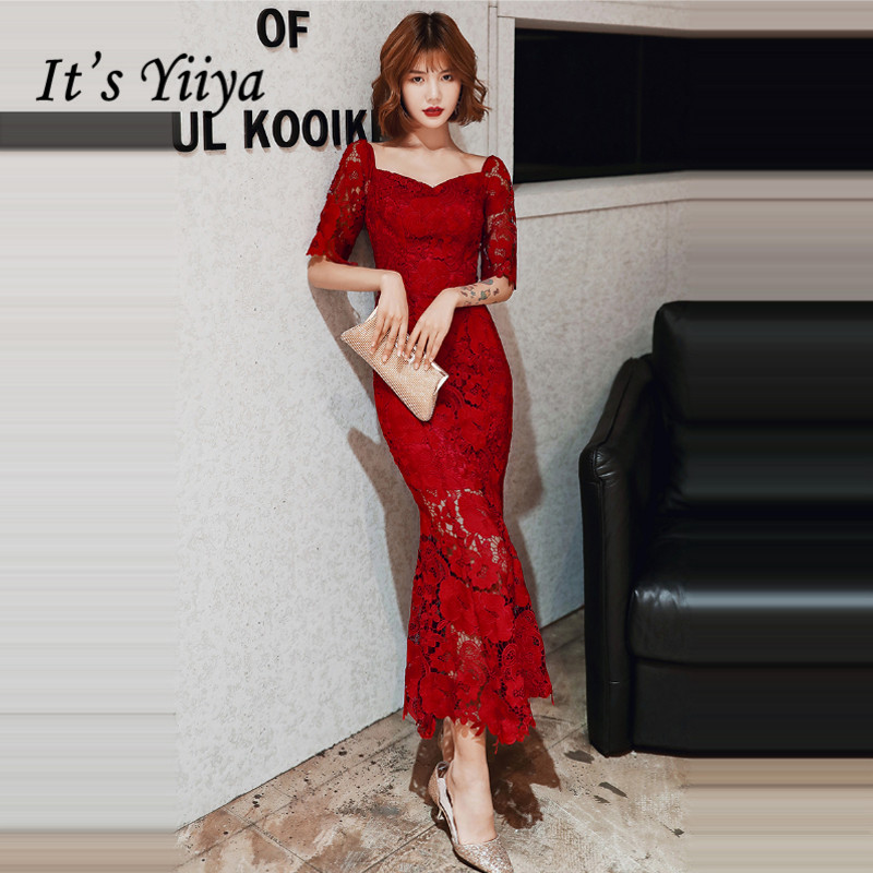 It's Yiiya Evening Dresses Burgundy Square Collar Evening Dress Plus Size Half Sleeve Formal Gowns Mermaid Robe De Soiree LF072