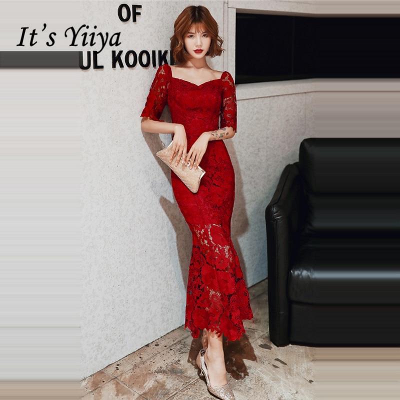 It's Yiiya Evening Dresses Burgundy Square Collar Evening Dress Plus Size Half Sleeve Formal Gowns Mermaid Robe De Soiree LF072
