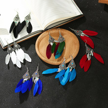 Creative Small Flower Feather Rhinestone Hollow Earrings Popular Female Leaves Tassel Fashion Alloy Temperament