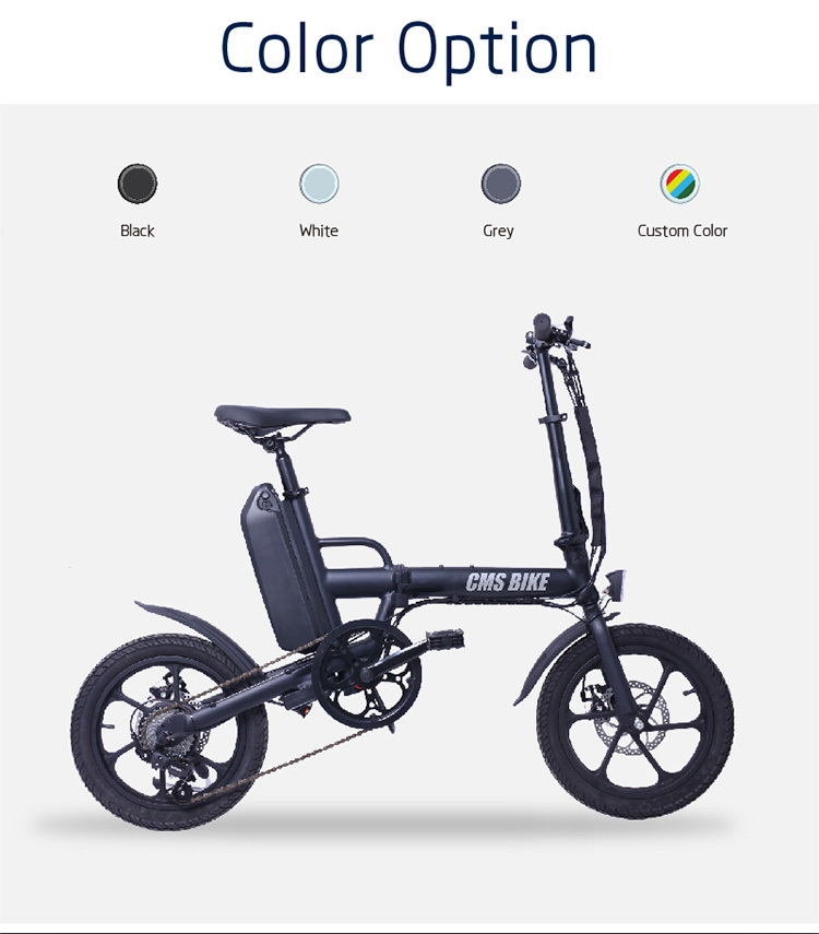 "16"" folding variable speed city folding ebike with aluminium alloy frame 8"