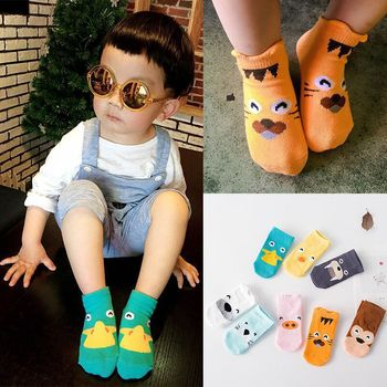 Anti-slip Baby Boys Girls Floor Socks Newborn Cotton Baby Clothes Accessories Toddler Infant Casual Cute Animal Soft Baby Socks image