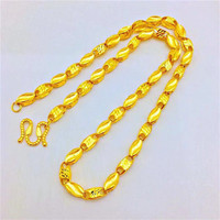 Luxury Fashion 14K Gold Necklace for Men Wedding Engagement Jewelry 6N Thick Yellow Gold Jewelry Wheat Chain Necklace Gifts Male