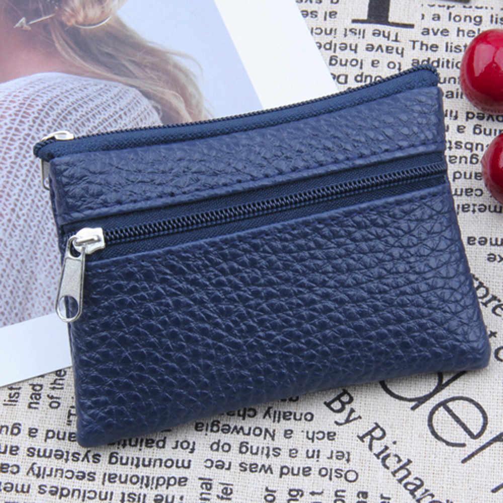 Utile femmes en cuir portefeuille unisexe Multi fonctionnel fermeture éclair en cuir porte-monnaie carte portefeuille porte-monnaie pochette porte-clé pour 2019