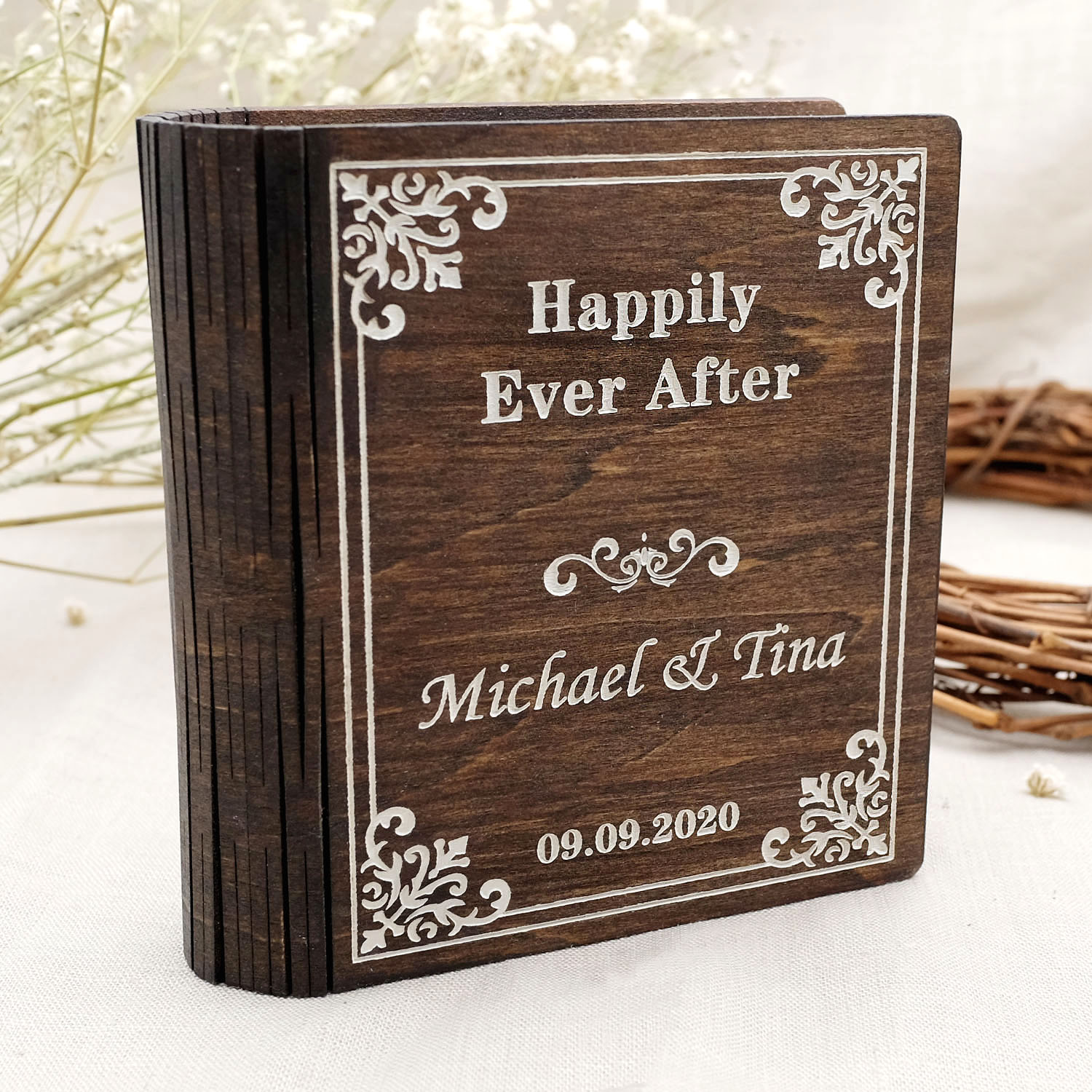 Personalized Wedding Ring Box Proposal Jewelry Holder Ring Bearer Book Box Engagement Box Valentines Gift