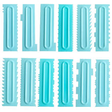 1Pcs Fondant Spatulas Pastry Icing Combs Plastic Cream Smoother Cake Decorating Comb Food Grade Cake Scraper Baking Accessories(China)