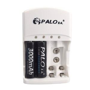 Image 5 - Chargeur de batterie à 4 fentes pour 1.2V AA AAA 6F22 9V Li ion NI MH NI CD Batteries rechargeables de haute qualité