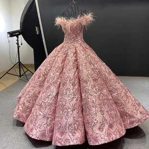 Image 4 - J66661 JANCEMBER Party Long Evening Dresses 2020 Sweetheart Off Shoulder Embroidery Feathers Womans Dress