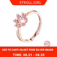 Strollgirl 100%925 sterling silver cat claw ring opening adjustable rose gold ring ladie wedding pink crystal CZ cat couple gift