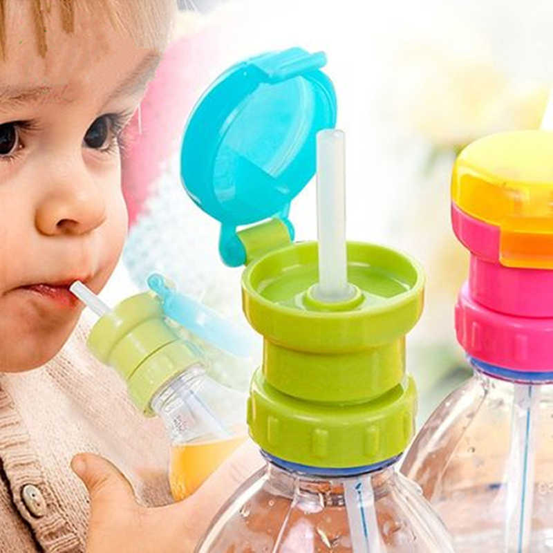 Kids Water Bottle Cap Spill Proof Juice Soda Water Bottle Twist Cover Cap With straw Safe Drink Straw Sippy Cap Feeding for Kid
