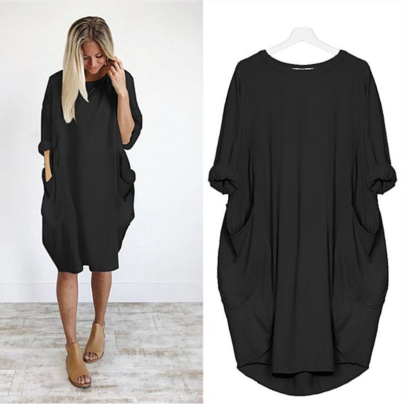 Women Loose Dresses Long Sleeve Dress Plus Size Harajuku Skull Print Casual Robes Femme Vintage o Neck Pocket Party Vestidos 37