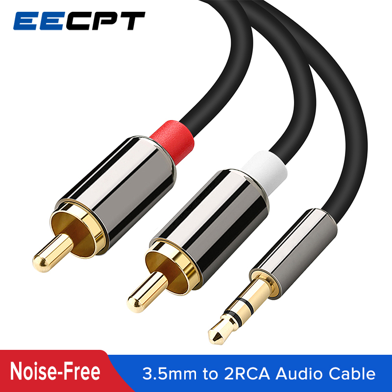 EECPT RCA Cable 2 RCA to 3.5mm Jack Male Splitter Audio Line Aux Cable for Speaker Amplifiers Subwoofer DVD VCD Player Theater image