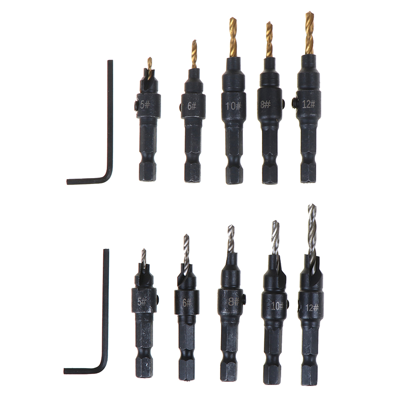 5pcs HSS Countersink Drill Bit Set Screw Woodworking Chamfer Tool Hot Sale