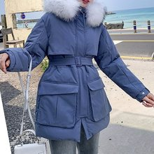 Winter Women Hooded Parkas Warm Thicken LongCoat Loose Parka Fur Collar Cotton Padded Jackets zipper Female Casual Outerwear цены онлайн