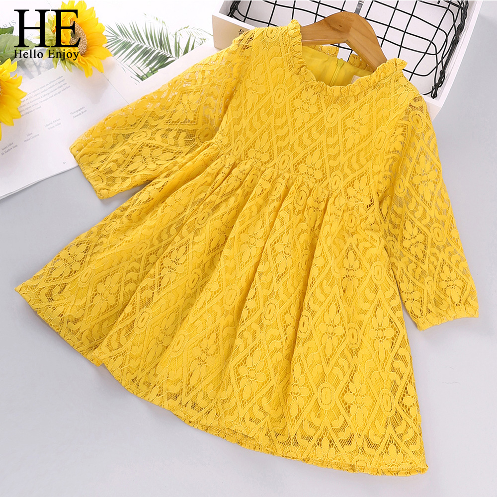 HE Hello Enjoy Toddler Girls Dresses Kids Clothes 2020 Autumn Lace Hollow Flowers Princess Party Kids Dress Vestidos Casual Wear 1