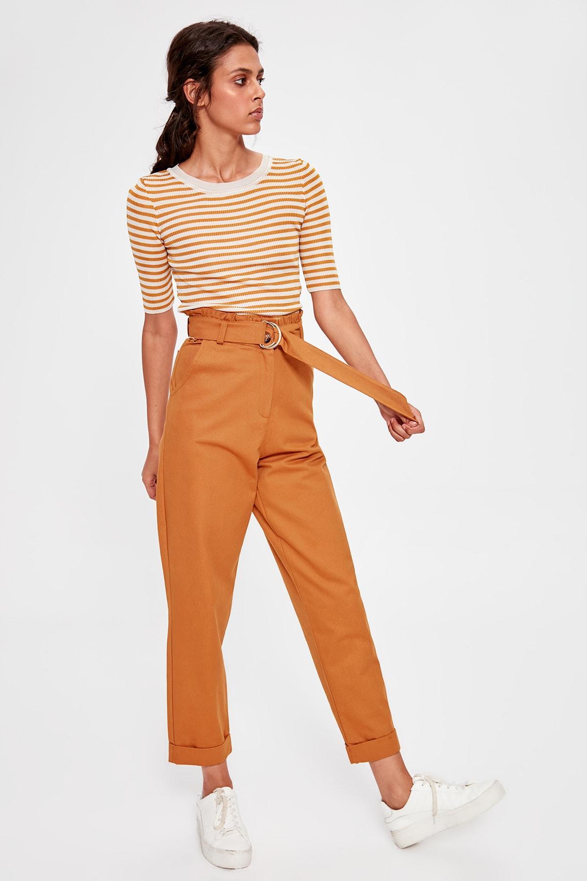 Trendyol Camel Arched Pants TWOAW20PL0051