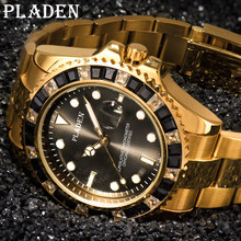 PLADEN nowych mężczyzna kwarcowe zegarki szafirowe szkło wodoodporny Luminous okrągły czarny diament mężczyzna zegar Auto data Dive Timepiece 2021
