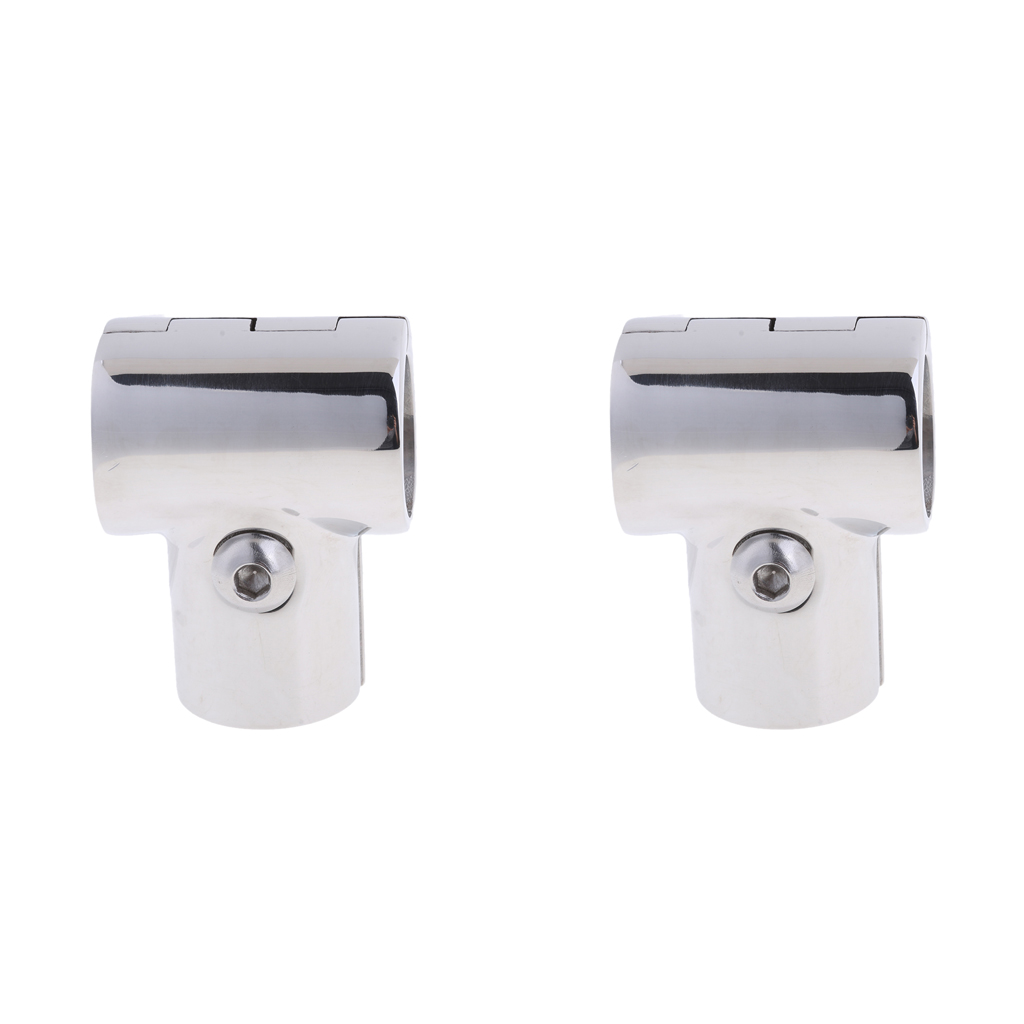 2 Pcs Boat Handrail Tee Fitting 316 Stainless Steel 25mm Marine 3 Way Handrail 90 Degree Hardware Boat Accessories Marine