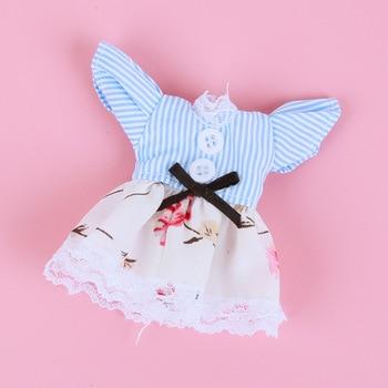 1/8 BJD Dolls Clothes Set 16-18 CM BJD Dolls Lace Flower Dress Sweater 6 Inch BJD Dolls Tops With Skirt For Girls Dolls Clothes - Blue Stripe