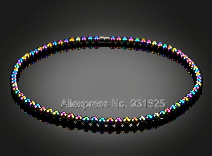 Fashion Healthy Care Colorful Magnetic Hematite Necklace Colorful Beads Energy Healing Magnet Necklace Healthy Jewelry