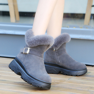 Boots Winter Women Shoes Woman High Heel Platform Boots Thick Sole Warm Fur Boots Snow Boots Botas Mujer Ankle Boots Plus Size