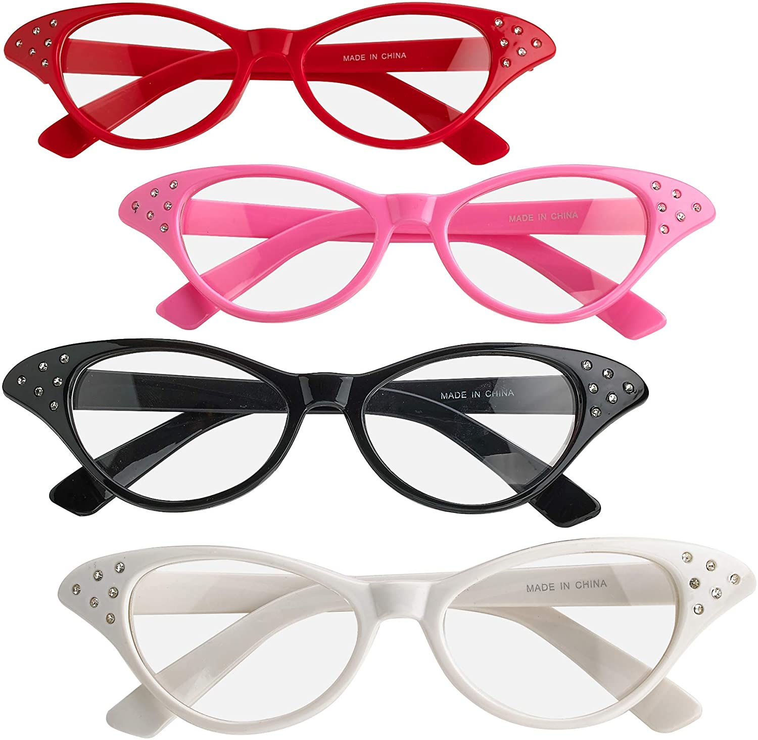Pack Of 4 Vintage Retro 50s 60s Inspired Clear Non - Prescription Costume Cateye Sunglasses For Women & Kids By Bedwina