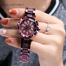 KOVONSH Montre femme montre femme femme montre femme femme Senior diamant montre 2020 acier inoxydable livraison directe