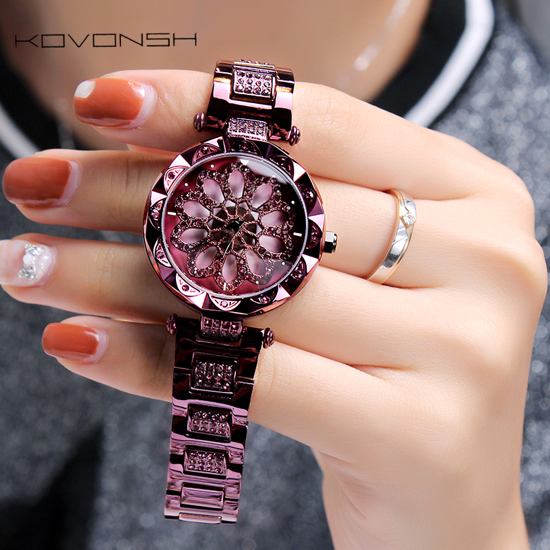 KOVONSH Relógio feminino relógios femininos feminino senhoras relógio de mulher sênior diamante relógio 2020 aço inoxidável dropshipping