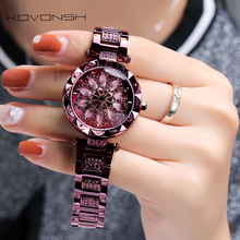 KOVONSH נשים שעון נשים שעונים של נשים נקבה גבירותיי שעון אישה של בכיר יהלומי שעון 2020 נירוסטה Dropshipping