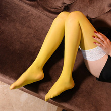 Women Sexy 8D High Stockings Lace Oil Shiny Glossy Tight Shaping Stocking Overknee Smooth Sexy Stockings Cute Candy Color