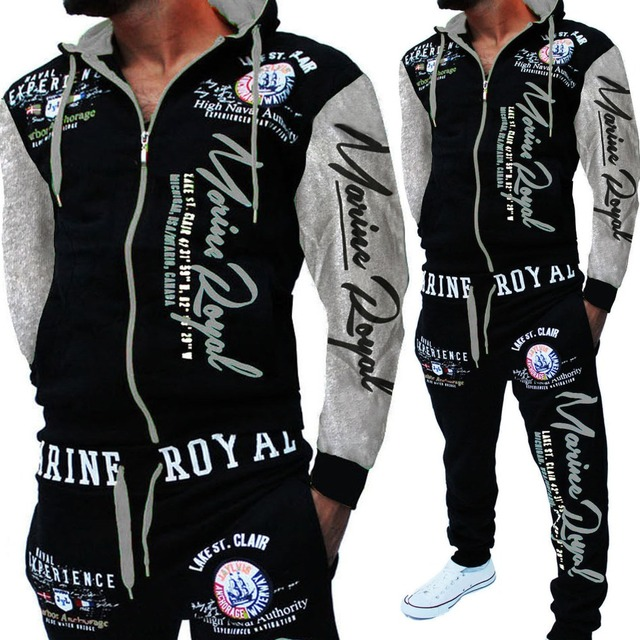 Zogaa 2019 marca homem treino 2 peça topos e calças dos homens ternos de suor conjunto carta impressão mais tamanho jogger conjuntos para roupas masculinas 4