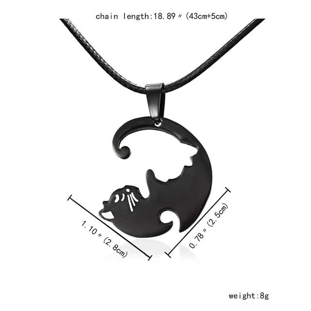 Rinhoo Vintage Couples Jewelry Necklaces Black White Couple Necklace Classic Yin Yang Corollary Animal Cat Pendant Necklace