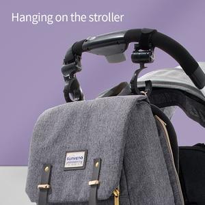 Image 5 - SUNVENO modna torba na pieluchy mamusia torba na pieluchy macierzyńskie o dużej pojemności plecak podróżny torba na pieluchy dla opieka nad dzieckiem