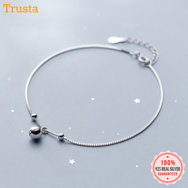 Trustdavis 925 Sterling Silver Women's Fashion Chinese Charm Wish Bell Anklets For Women Girls Birthday Gift 925 Jewelry DS1483 2