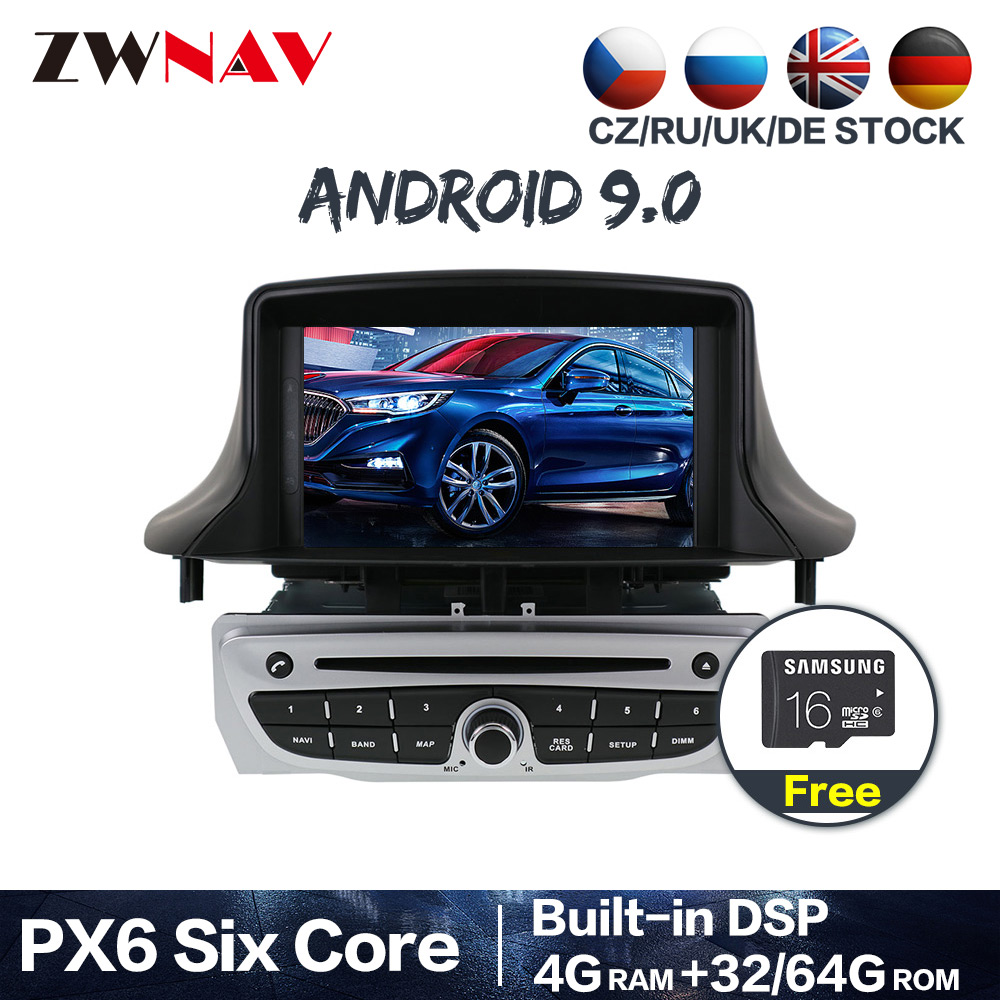 PX6 4+64G Android 9.0 Car Stereo DVD Player <font><b>GPS</b></font> Glonass Navigation for Renault <font><b>Megane</b></font> <font><b>3</b></font> Fluence 2009-2015 Video Multimedia Radio image