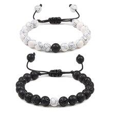 Регулируемый браслет с бусинами для пар, натуральный камень, лава, матовый белый черный плетеный браслет для мужчин и женщин, подарки, Pulseiras
