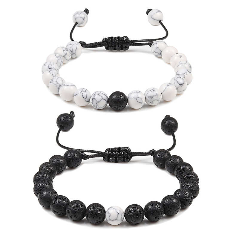 Adjustable Couples Distance Beaded Bracelets Natural Stone Lava Matte White Black Braided Bracelet for Men Women Gifts Pulseiras