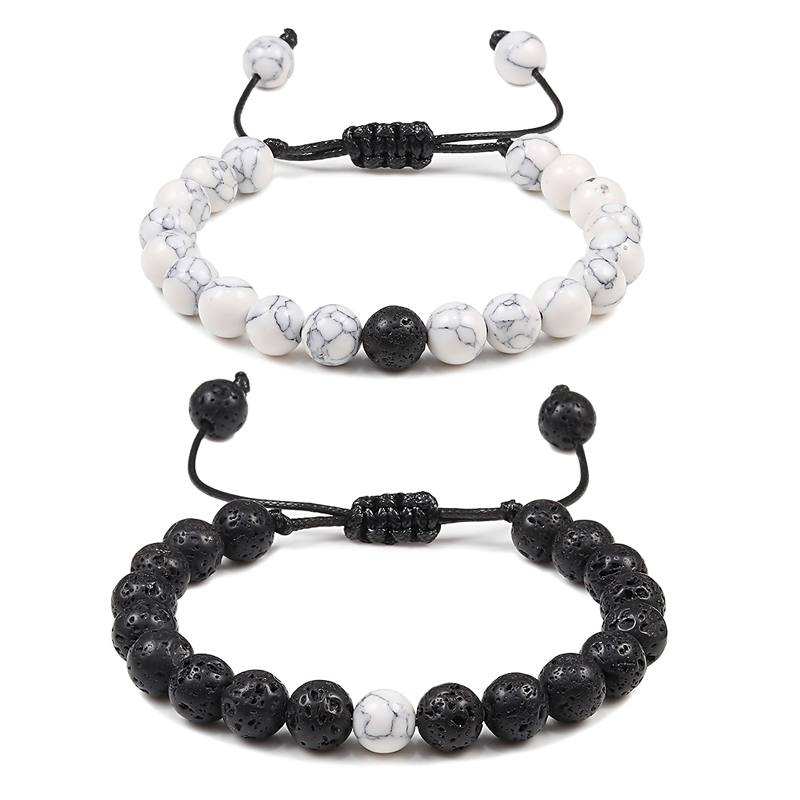 Adjustable Couples Distance Beaded Bracelets Natural Stone Lava Matte White Black Braided Bracelet for Men Women Gifts Pulseiras