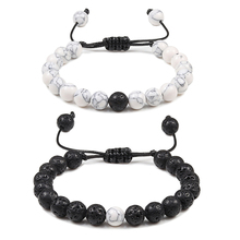 Adjustable Couples Distance Beaded Bracelets Natural Stone Lava Matte White Blac