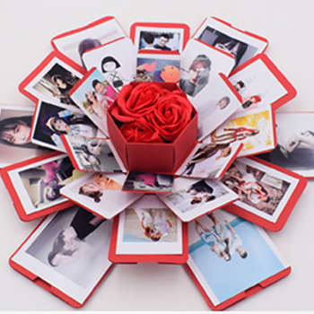 Surprise Party's Love Explosion Box Gift for Anniversary Scrapbook DIY Photo Album birthday Christmas Valentine's Day Gift assembly love diy creative valentine s day friend special day black explosion gift box diy photo unique design birthday party