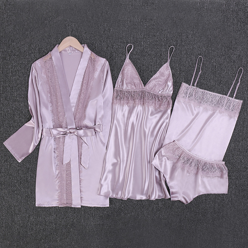 Youhottest Silk Pajamas Sets Women Sexy Robe Lingerie Sets 4 pieces Suits Women Robe