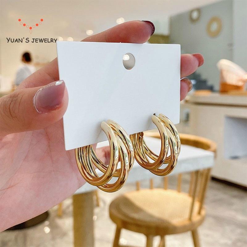 Круглые серьги для женщин большой circl серебро 2021 новая тенденция Китая по оптовым ценам темперамент личности чистого золота модные смарт-юв...