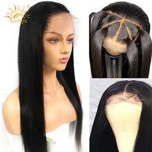 360 koronkowa peruka z przodu peruwiańskie proste włosy wstępnie oskubane z dzieckiem włosy Remy koronkowa peruka z ludzkich włosów peruki 150 gęstość światło słoneczne włosy