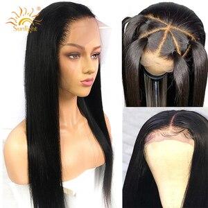 Image 1 - Peluca Frontal de encaje 360 cabello liso peruano prearrancado con cabello de bebé pelucas de cabello humano con encaje Frontal Remy 150 densidad luz cabello