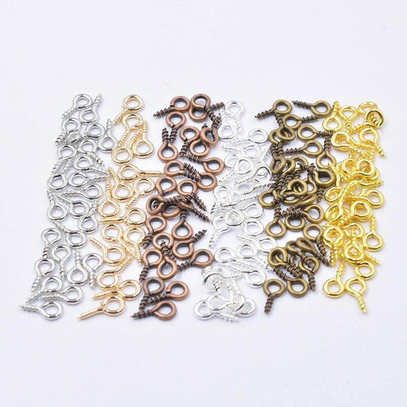 200pcs Mixed 6 Colors 4*8mm Small Tiny Mini Eye Pins  Eyepins Hooks Eyelets Screw Threaded Clasps Hooks BeadsFor Jewelry Making